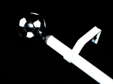 1.2m - 2.1m Extendable Eyelet Curtain Pole with Black & White Football Finials